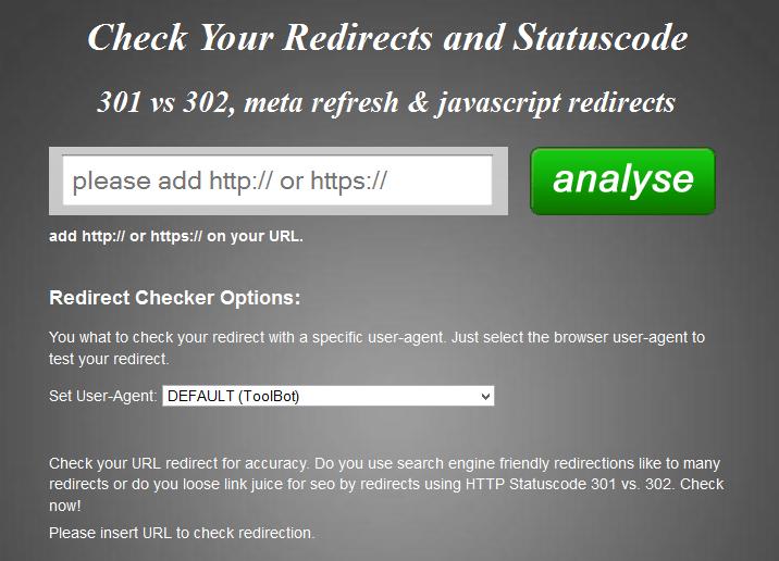 Narzędzie Redirect Checker