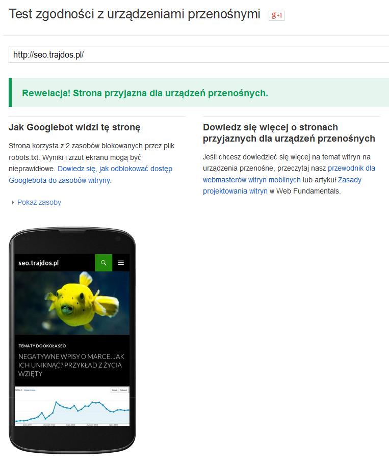 Test mobilności w zykorzystaniem narzędzia Google