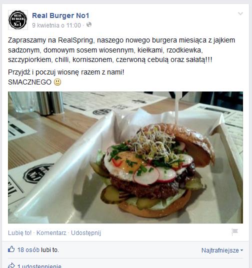 Burger miesiąca Real Burger No.1 (źródło: facebook.com)
