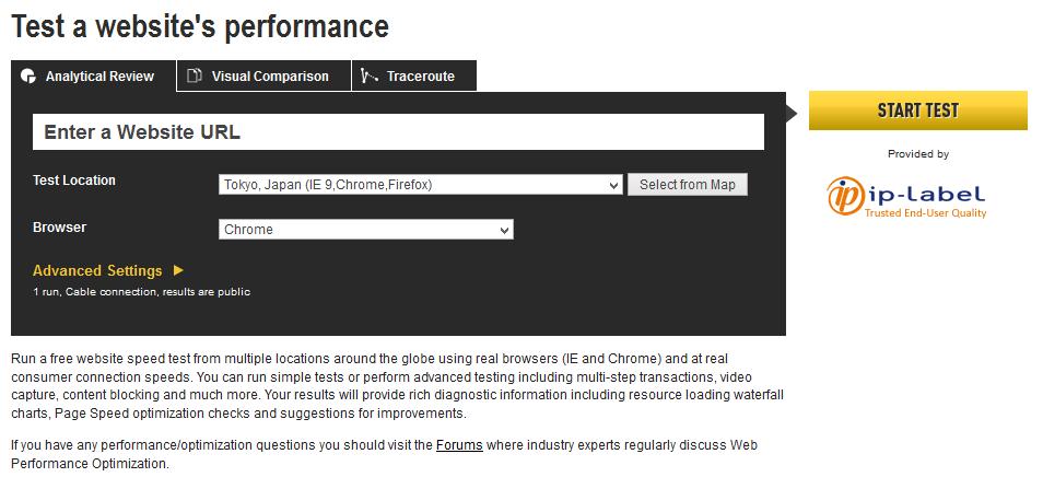 Formularz testowania wczytywania strony na Web Page Test