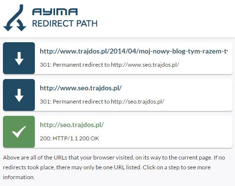 Ścieżka przekierowań w Redirect Path dla przekierowania między domenami
