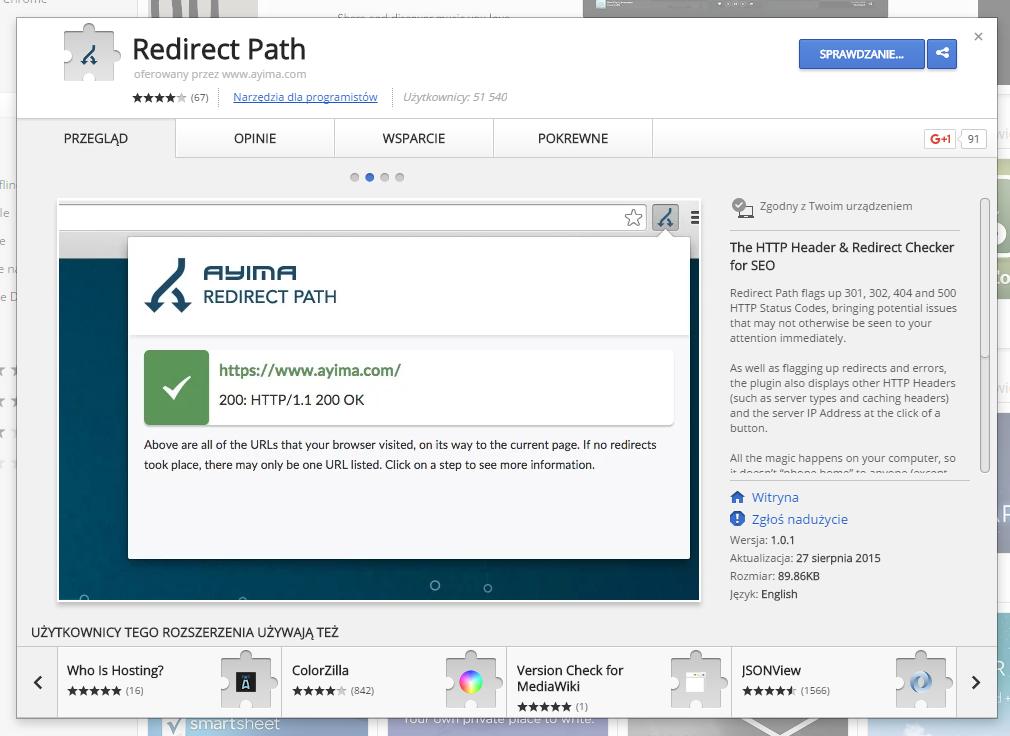 Strona rozszerzenia Redirect Path w sklepie Google Chrome