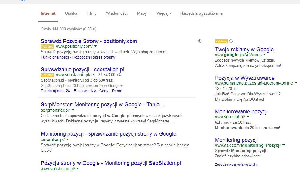 Wyniki Google dla monitorowanie pozycji w google