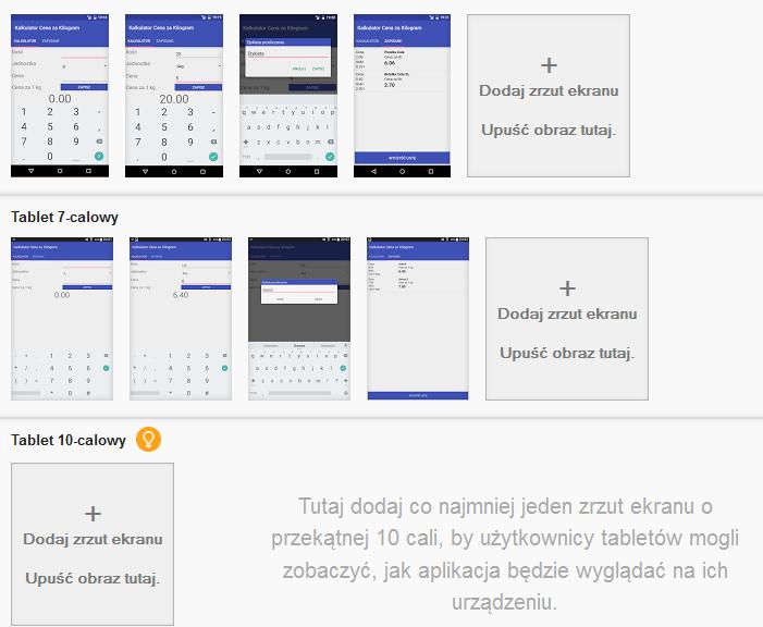 Zrzuty ekranu aplikacji w Google Play